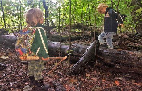 Twee jongetjes spelen in het bos