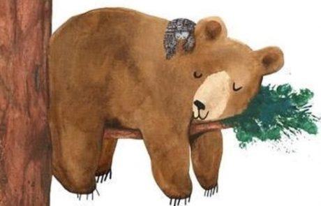 illustratie beer slaapt in boom