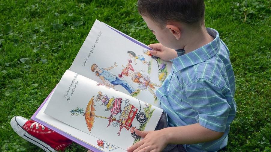 Peuter lees prentenboek, zittend in het gras